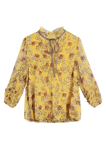 Twenty Eight Shoes yellow VANSA Floral Print Mid Sleeves Blouse VCW-Bs12622 C7FA0AAF606FC8GS_1