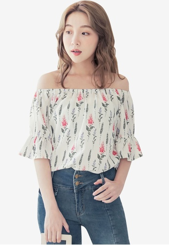 Eyescream white Floral Off Shoulder Top A6372AADD91C3EGS_1