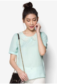 Chiffon Blouse with Lace Collar