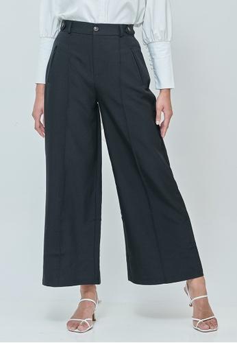 MC Vogue black Sabrina Black Elastic Wide Pants 779C7AA260DFBCGS_1
