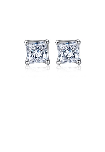 Glamorousky white 925 Sterling Silver Simple Fashion Geometric Square Cubic Zirconia Stud Earrings 08E49AC2E887C3GS_1