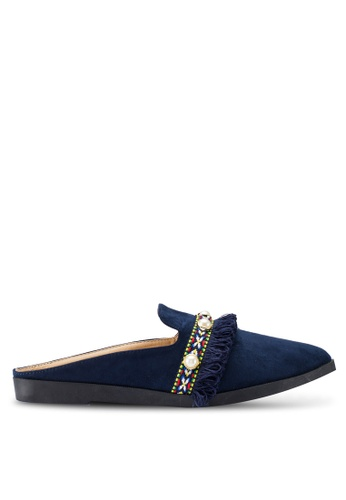 Berrybenka 藍色 流蘇穆勒鞋 E80B0SH397A43AGS_1
