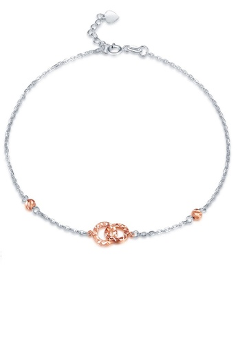 MaBelle silver 14K 585 Rose and White Gold Diamond Cut Double Circle Anklet 34EB8ACBB3CF0CGS_1