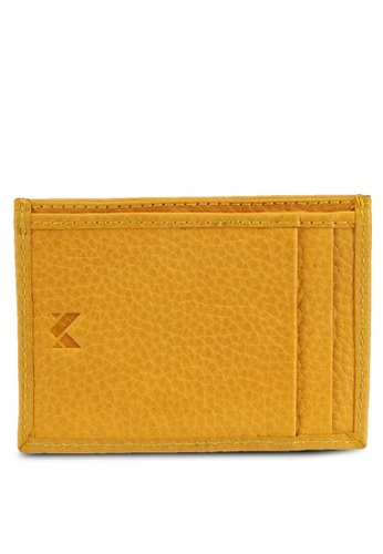 Miajee's yellow PASHA-Slim verticle Card holder genuine leather handcrafted - Yellow 11F68ACF0768F0GS_1