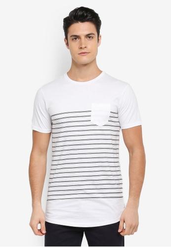 Cotton On 黑色 and 白色 短袖條紋口袋T恤 A25F5AA00247B7GS_1