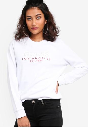 GUESS white Ladies Long-sleeve Logo Sweatshirt DDD68AA368FD37GS_1