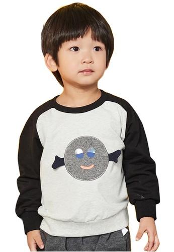 M.Latin grey Long Sleeve Round Neck Sweater with Embroidery 33442KAFAA459CGS_1