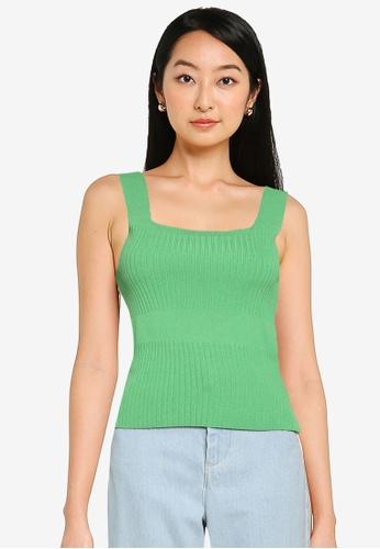 Saturday Club 綠色 Strappy 拼接針織上衣 C91FAAAF6682CDGS_1