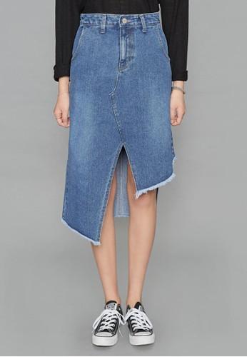 zalora 包包 ptt不對稱裁剪牛仔裙, 服飾, 及膝裙
