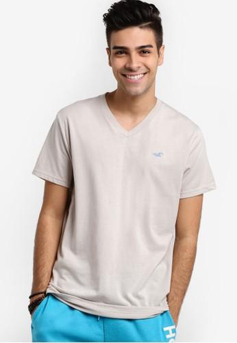 Hollister beige Pop Icon V-Neck T-Shirt HO422AA06GQBMY_1