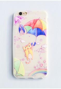 Cat with Umbrella Soft Transparent Case for iPhone 6/6s