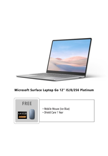 """Microsoft silver Microsoft Surface Laptop Go 12"""" I5/8/256 Platinum - THJ-00018 Free Mobile Mouse Ice Blue + Shield Care 1 Year 09C3DHL4C8F224GS_1"""