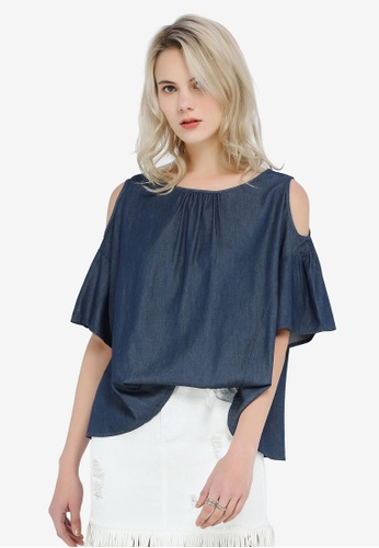 64e315dd102b57 Buy Hopeshow Denim Off Shoulder Blouse Online on ZALORA Singapore
