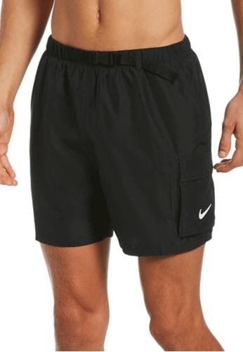 """Nike black Nike Swim Men's Belted Packable 5"""" Volley Short 857BAUS8121DFDGS_1"""