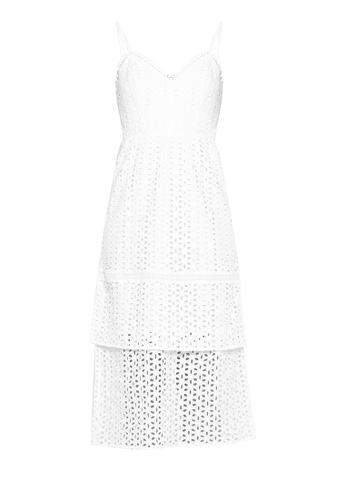 ad313bfa1d75 Shop WAREHOUSE Tiered Broderie Midi Dress Online on ZALORA Philippines