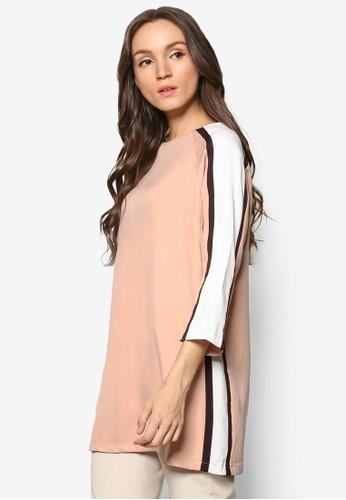 色塊圓領長版上衣, 服飾esprit 衣服, 女性服飾