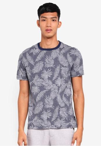 Burton Menswear London 海軍藍色 幾何花卉T恤 E6F04AA96EE828GS_1
