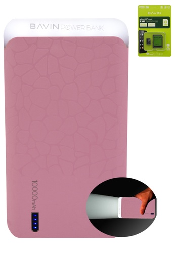 BAVIN pink 10000mAh LED Flash Light Powerbank with FREE Bavin Memory Card 8 GB 11495AC5CC5A63GS_1
