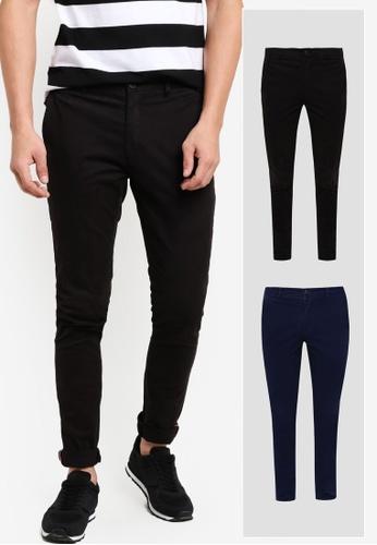 JAXON black and navy 2 Pack Skinny Fit Chino Pants With Hem Trimming JA219AA41GFAMY_1