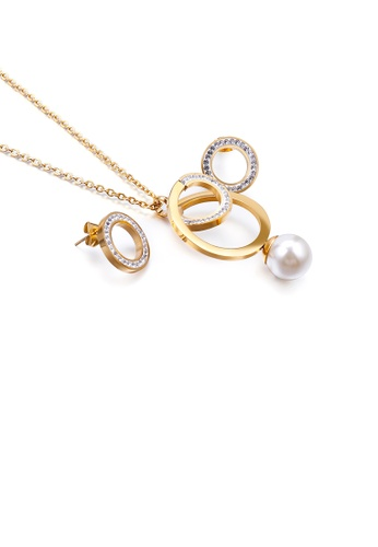 Glamorousky white Fashion and Simple Plated Gold Geometric Circle Imitation Pearl 316L Stainless Steel Necklace and Stud Earrings Set with Cubic Zirconia 6FA32AC88763F0GS_1
