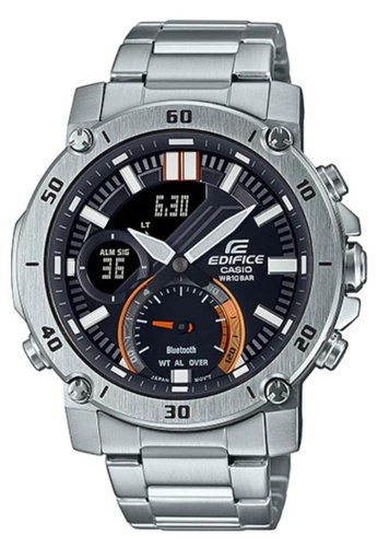 CASIO silver Casio Edifice ECB-20D-1ADF Black and Silver Stainless Steel Watch 0A828AC927B959GS_1