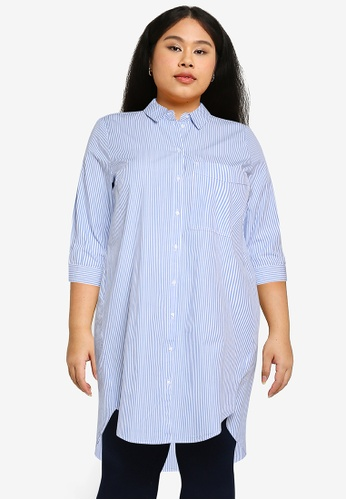 Only CARMAKOMA blue Plus Size Viggi Life Long Striped Shirt 84EE5AA964886FGS_1
