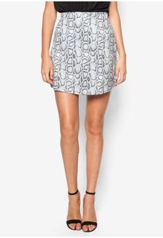 Snake Print A Line Mini Skirt