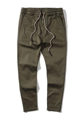 MUSIUM DIV green Flap pocket elasticated waist pants 80F01AA8293687GS_1