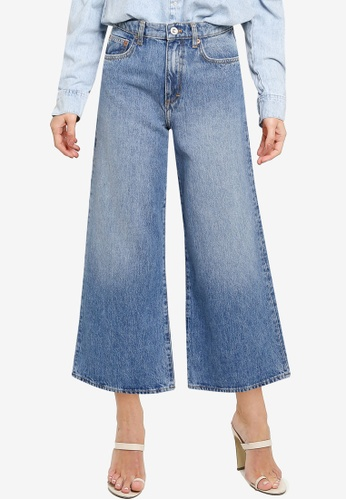 French Connection blue Pipper Denim Cropped Wide Leg Jeans 037CCAA87CC020GS_1