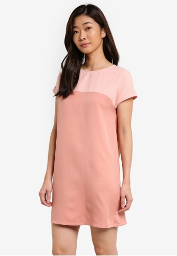 ZALORA BASICS pink Essential Short Sleeve Colourblocked Dress 17509AA88FAA37GS_1