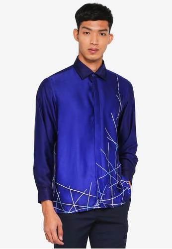 Gene Martino blue Batik Abstract Top 6F8B2AA794ADF1GS_1
