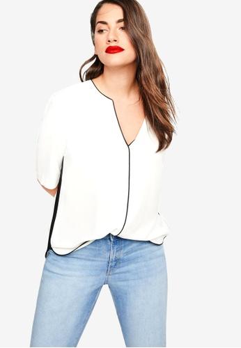 54825692868fa2 Shop Violeta by MANGO Plus Size Contrast Trim Blouse Online on ZALORA  Philippines