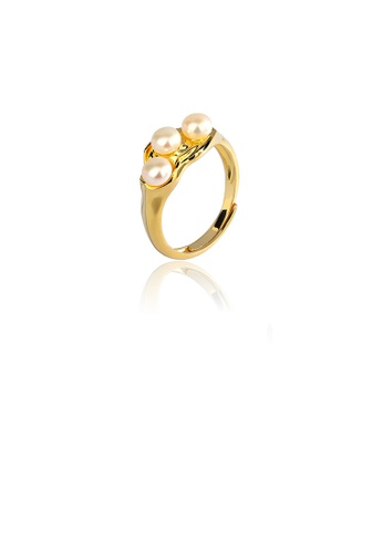 Glamorousky white 925 Sterling Silver Plated Gold Fashion and Elegant Geometric Freshwater Pearl Adjustable Ring D45D7ACF9A470AGS_1