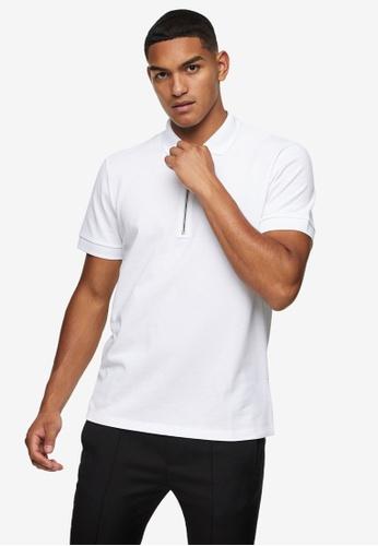 Topman white Tonal Zip Polo Shirt 58D73AA2C14388GS_1
