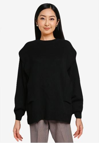 LOWRYS FARM black Shoulders Detail Knit Pullover B1D9BAA19E4D76GS_1
