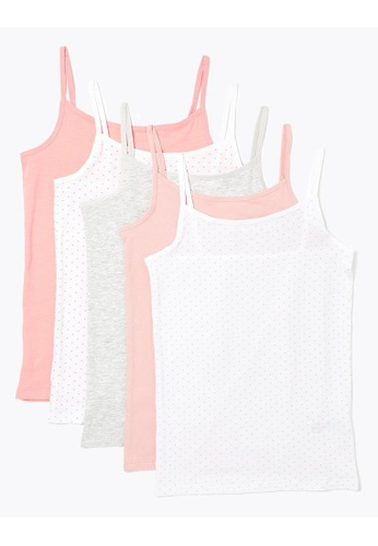 MARKS & SPENCER multi M&S 5 Pack Cotton With Stretch Spotty Camisole Vests (2-16 Years) 8A0F4KAB648CF5GS_1