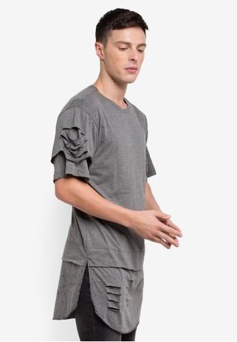 Flesh IMP grey Oversized Bamboo T-Shirt 34B69AAE3BE8C8GS_1