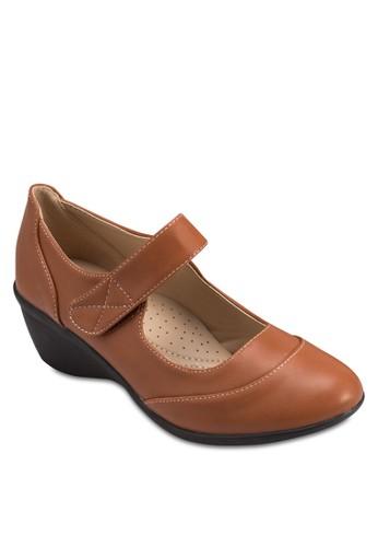 魔術氈帶鏤空楔zalora taiwan 時尚購物網型跟鞋, 女鞋, 厚底楔形鞋