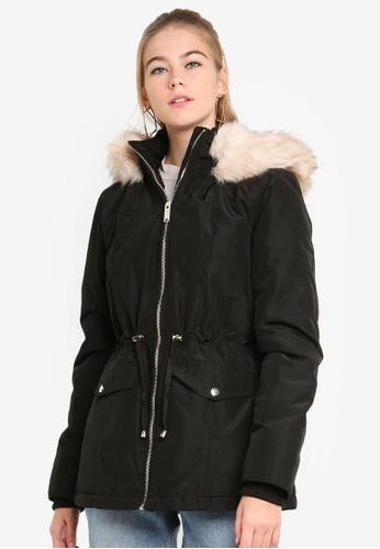 Miss Selfridge black Black Memory Shell Parka Coat 98341AA2DF1DE3GS_1