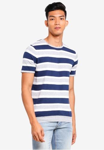 MANGO Man 藍色 條紋針織T恤 5BC93AAFD7AF23GS_1