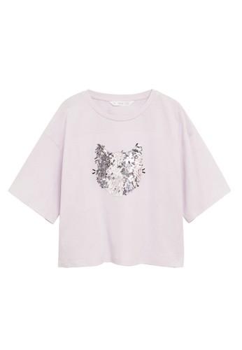 MANGO KIDS purple Sequined Cotton T-Shirt D35F8KA30C1012GS_1
