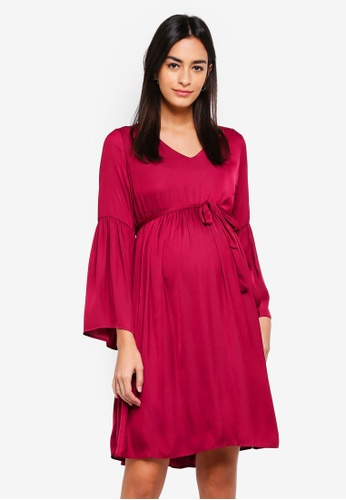 Mama.licious red MLROSALIE L/S WOVEN ABK DRESS 683FBAA245A3C3GS_1