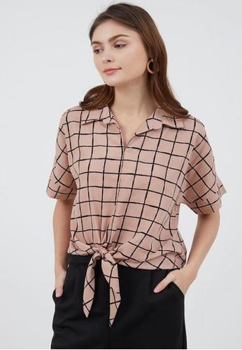 Berrybenka Label pink Sophie Salma Plaid Tops Pink B893DAA6459A68GS_1
