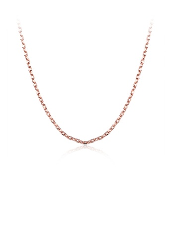 Glamorousky silver Simple and Fashion Plated Rose Gold Square Necklace 3EC51AC88DA740GS_1
