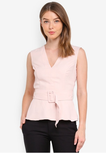 Miss Selfridge pink Pink Belted Peplum Shell 52754AA84524B0GS_1