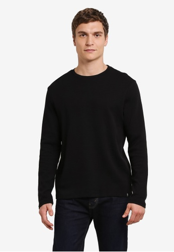 Burton Menswear London black Black Waffle Textured T-Shirt BU964AA0S2BNMY_1