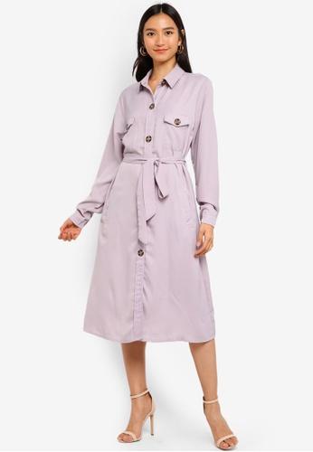 MISSGUIDED grey Utility Shirt Dress 92EBDAA96D7278GS_1