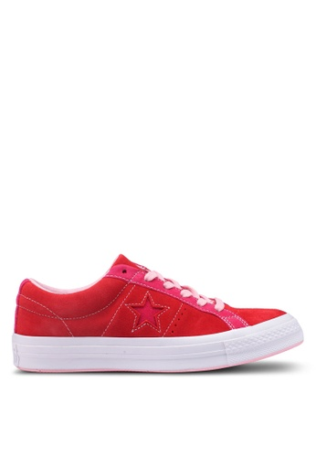 Converse 紅色 One Star Vintage 麂皮運動鞋 FAC87SH6D0B0AEGS_1