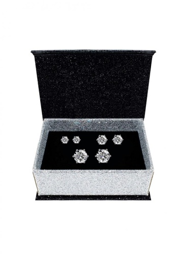 Her Jewellery silver Trinity Earrings Set (2 Sets) - Made with Premium grade crystals from Austria 5675FAC376D622GS_1