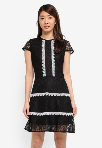 Dorothy Perkins black Black Lace Trim Skater Dress 1A0EFAA1275778GS_1